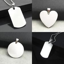 Men Army DIY Dog ID Tag Solid Necklace Pendant Military Stainless Steel Silver