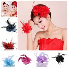 Charm Women Headdress Flower Feather Hair Clips Bobby Pin Wedding Bride Decor