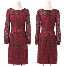 Short Lace Red Mother of the Bride Guest dress Evening Formal Dress Size 6-20
