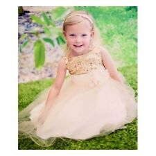 Little Girls Princess Dress Weddings Party Sequin Sweet Long Dressy Gold Holiday