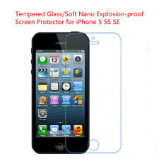 Tempered Glass/Soft Nano Explosion-proof Screen Protector For iPhone 5 5S SE