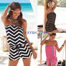 Summer Women Strapless Jumpsuit Playsuit Casual Beach Wave Striped Shorts Romper