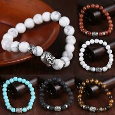 Lucky Men's Top Lava Rock Natural Stone Silver Buddha Beaded Bangle Bracelet New