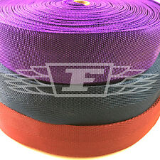 50mm POLYPROPYLENE WEBBING STRAPPING BAGS STRAPS WEAVE LEADS PURPLE RED NAVY