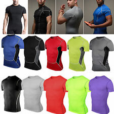 New Men's Compression Body Armour Base Layer Under Shirts Tight T-Shirt Tee Tops