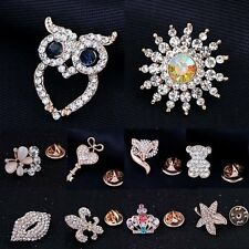 Wedding Fashion Crystal Lapel Tie Tack Pins Collar Golden Owl Brooch Jewellery