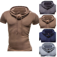 NEW Mens Stylish Slim Fit Muscle Tee Sport Hooded Hoodie T Shirt Short Sleeve c1