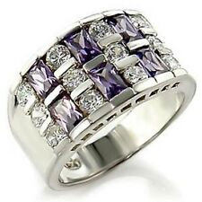 Rhodium Plated Amethyst and Clear Cubic Zirconia Ring   SZ 6 - 8
