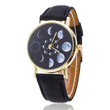Foremost Vogue Women Long Slim Faux Leather Strap Round Crystal Dial Wrist Watch