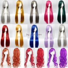 Elegant Long Curly Straight Full Head Wigs Cosplay Party Fancy Dress Anime Wig