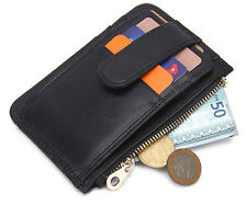 Genuine Leather Thin Slim ID Card Holder Mens Coin Purse Money Clip Wallet