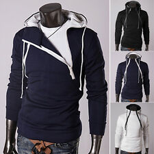 Fashion Mens Front Double Zipper Thickened Hoodie Coat Outerwear Tops Sweatshirt