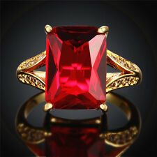 JEWELRY WOMENS 18K GOLD FILLED EMERALD RED RUBY JADE FASHION WEDDING RING ROUND