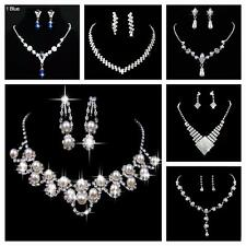 SHIP USA -BRIDAL PARTY JEWELRY CRYSTAL DIAMANTE NECKLACE EARRINGS JEWELRY SET