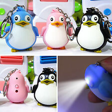 Animal Penguin LED Light With Sound Key Chain Keyring Ring Torch Gift