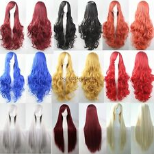 Anime Long Straight Curly Full Wigs Cosplay Costume Party Fancy Dress Synthetic