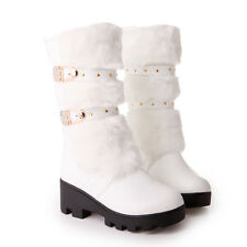 Womens Fur Winter Buckle Snow Winter Mid Heel New Mid Calf Boots Shoes ALL AU Sz