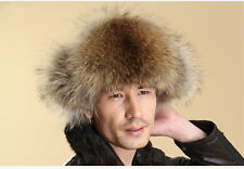 Men's 100% Real Fox Fur Warm Hat Sheepskin Leather Raccoon Fur Russian hat Cap