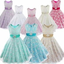 Wedding Floral Lace V-Neck Princess Flower girl Dress Party Pageant Bridesmaid