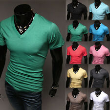 Fashion Men's Simple Slim Fit Short Sleeve V-Neck Casual T-Shirt Base Shirts