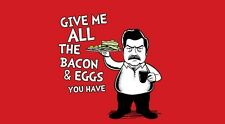 Parks Recreation Ron Swanson Bacon Dr. Seuss MASHUP Parody RARE MEN Shirt NEW