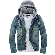 5X(Winter Clothing Hooded Denim Jacket Outdoors Casual Jeans Coats Outerwear) SP
