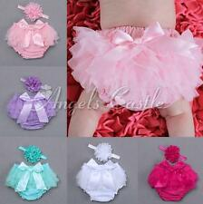 Infant Baby Girl Chiffon Tulle Panty Nappy Cover Skirt + Headband Outfit Costume