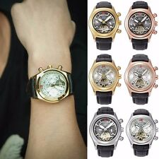 Black Mens Skeleton Tourbillon Stainless Steel Automatic Mechanical Wrist Watch