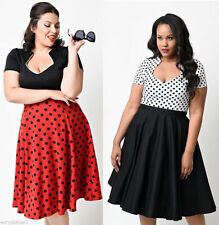 Hepburn Style Vintage 50s Lady Classic Polka Dot Swing Pinup Rockabilly Dress