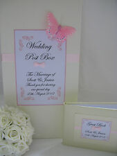 Butterfly design Ivory Wedding post box & Guest Book & personalised label