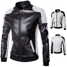 Cool Fashion Mens Long Sleeve PU Leather Slim Fit Motorcycle Jacket Coat 2 Color
