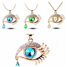 1PC Fashion Design Angle Eyes Oval Teardrop Crystal Pendant Necklace Long Chain