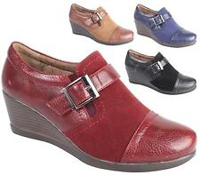 WOMENS LADIES BUCKLE WEDGE PLATFORM SLIP ON OXFORD LOAFERS SHOES SIZE 3-8