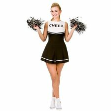 Adults High School Cheerleader Costume Ladies Black Fancy Dress Outfit POM POMS