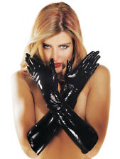 Sharon Sloane Latex Rubber Sexy Gauntlet Gloves - Black