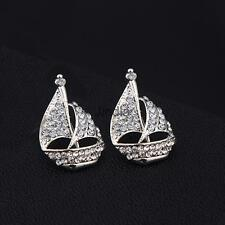 Pair of Crystal Yacht Brooch Collar Lapel Pins Tips Souvenir Gift-Gold/Silver