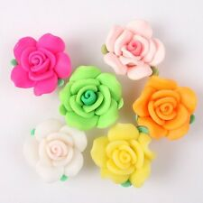 Wholesale Rose Flowers With Leaves Charms FIMO Polymer Clay Beads Findings 20mm