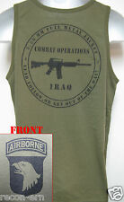 101ST AIRBORNE/ TANK TOP/ OD GREEN/ T-SHIRT/ MILITARY/ ARMY /  IRAQ COMBAT OPS