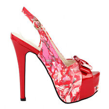 Fab Red Floral Bow PeepToe Slingback Stiletto Platform EVE Pump Size 4 5 6 7 8 9