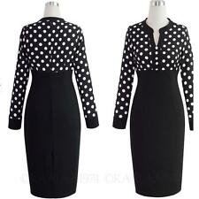 Chiffon Slimming Work Womens Career Midi Cocktail Ladies Polka dot Dress size