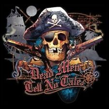 Pirate Fitted Shirt Dead Men Tell No Tales Skull Boat Captain Sword Compass Bone