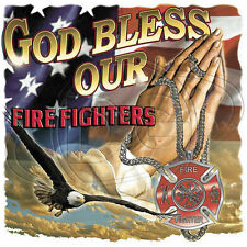 Religious T Shirt God Bless Our Firefighters Christian Bible EMS Rescue Prayer