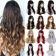 Long Curly Straight Full Wigs Cosplay Party Daily Fancy Dress With Rose Cap E91