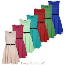 Ladies Womens Sleeveless Flared Belted Skater Dress Party Top Plus Size UK 8-26