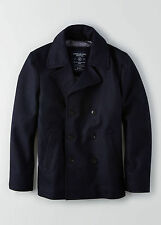 AEO American Eagle Outfitters Men Wool Peacoat Pea Coat Jacket Navy XS-L NWT