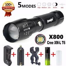 X800 Flashlight LED Zoomable Military Torch G700 SkyWolfeye with Battery Charger