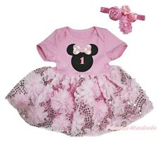 Minnie Birthday 1ST Light Pink Bodysuit Girl Bling Rose Baby Dress Outfit NB-18M