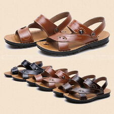 Mens Leather Sandals Slippers Casual Summer Beach Flip Flops Flat With Sandals