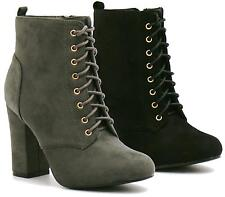Ladies Womens Black Grey Lace Up High Block Heel Casual Ankle Boots Shoes UK 3-8