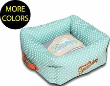 Polka-Striped Polo Easy Wash Squared Boxed Fashion Pet Dog Bed Beds